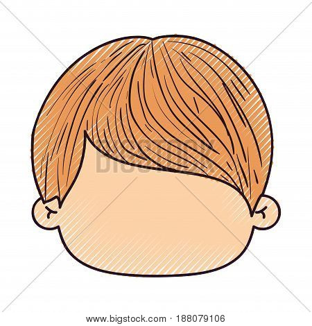 colored crayon silhouette of faceless head of little boy with short straight hair vector illustration