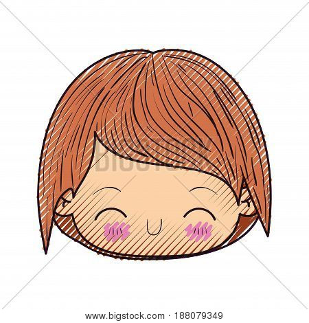 colored crayon silhouette of kawaii head of little boy with happiness facial expression in close up vector illustration