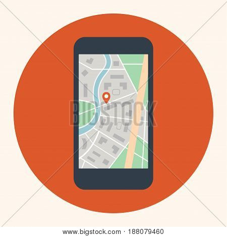 Mobile touch phone with map on screen. Flat style, vector illustration.