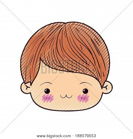 colored crayon silhouette of kawaii head of little boy with facial expression exhausted vector illustration