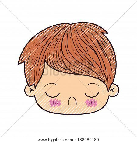colored crayon silhouette of kawaii head of little boy with facial expression disgust with closed eyes vector illustration