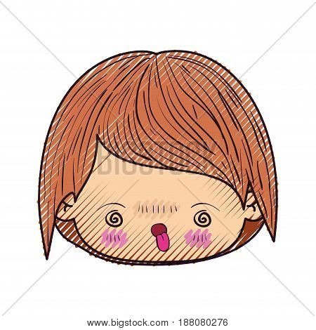 colored crayon silhouette of kawaii head of little boy with facial expression furious in closeup vector illustration