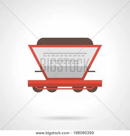 Symbol of hopper rail car. Railroad transportation of fertilizer and other bulk cargoes. Flat color style vector icon.