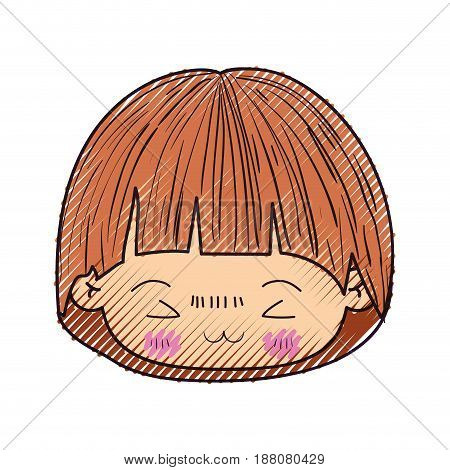 colored crayon silhouette of kawaii head of little boy with mushroom hairstyle and facial expression furious in closeup vector illustration