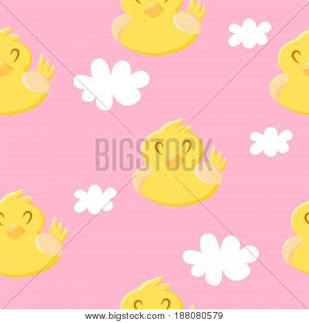 Seamless pattern with cute duck and clouds. Ornament for children's textiles and wrapping. Vector background.
