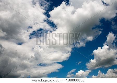 Beautiful White Clouds On A Blue Cloudy Sunny Sky