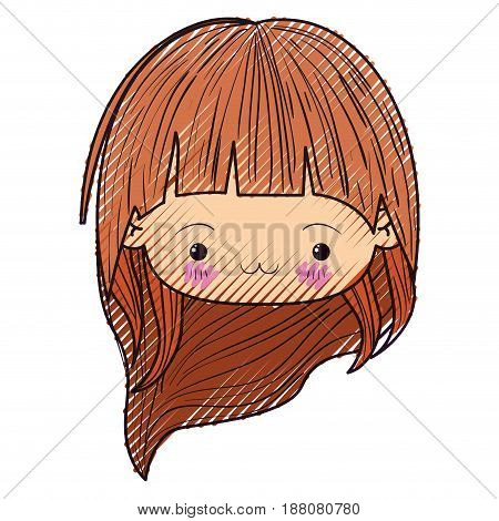 colored crayon silhouette of kawaii head little girl with long hair and facial expression exhausted vector illustration