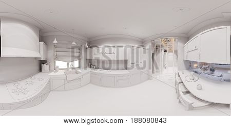 3d illustration of the kitchen interior design in Scandinavian classical style. Interior without textures and materials. Visualization 360 degree spherical seamless panorama for virtual reality.