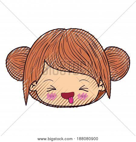 colored crayon silhouette of kawaii head little girl with collected hair and facial expression unpleasant vector illustration
