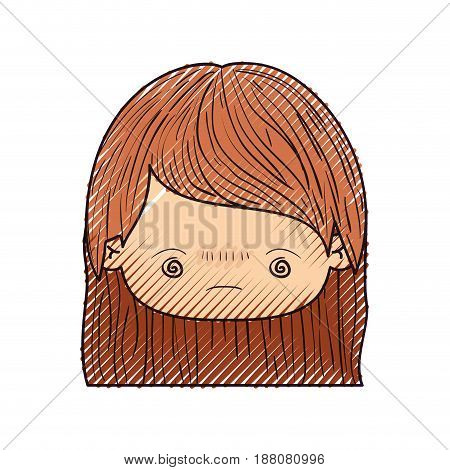colored crayon silhouette of kawaii head little girl with straight hair and facial expression bored vector illustration