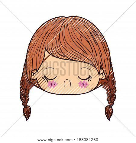 colored crayon silhouette of kawaii head little girl with braided hair and facial expression disgust vector illustration