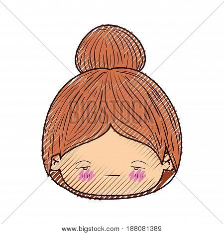 colored crayon silhouette of kawaii head little girl with collected hair and facial expression sad vector illustration