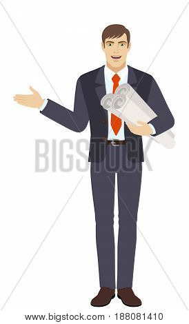 Businessman holding the project plans and showing something beside of him. Full length portrait of businessman character in a flat style. Vector illustration.