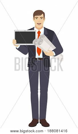 Businessman holding the project plans and showing blank digital tablet PC. Full length portrait of businessman character in a flat style. Vector illustration.