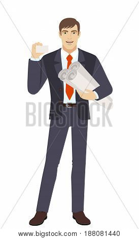 Businessman holding the project plans and showing the business card. Full length portrait of businessman character in a flat style. Vector illustration.