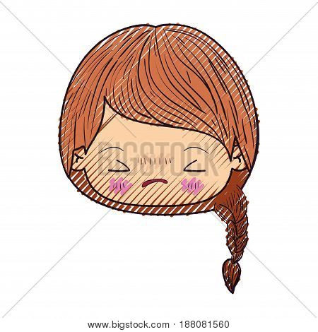 colored crayon silhouette of kawaii head little girl with braided hair and facial expression angry with closed eyes vector illustration