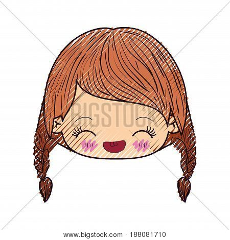 colored crayon silhouette of kawaii head little girl with braided hair and facial expression happiness with closed eyes vector illustration