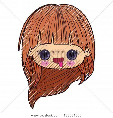 colored crayon silhouette of kawaii head little girl with long hair and facial expression enamored vector illustration