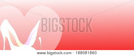 Horizontal banner. High heels banner. Red predominant color. Woman shoes. Stilettos. Heart. Red gradient