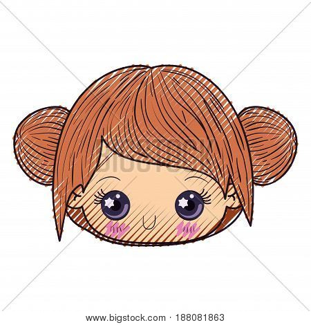 colored crayon silhouette of kawaii head cute little girl with collected hair vector illustration