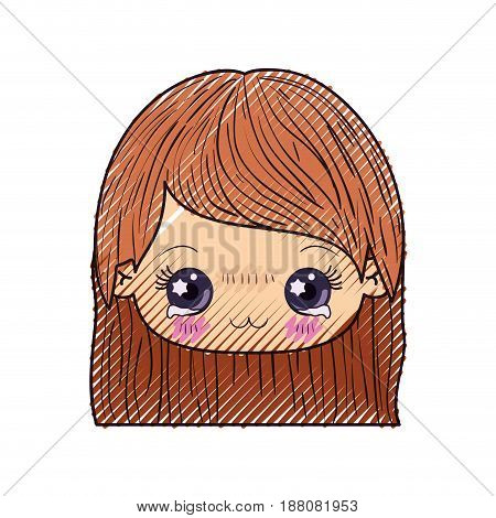 colored crayon silhouette of kawaii head of cute little girl with straight hair and facial expression depressed