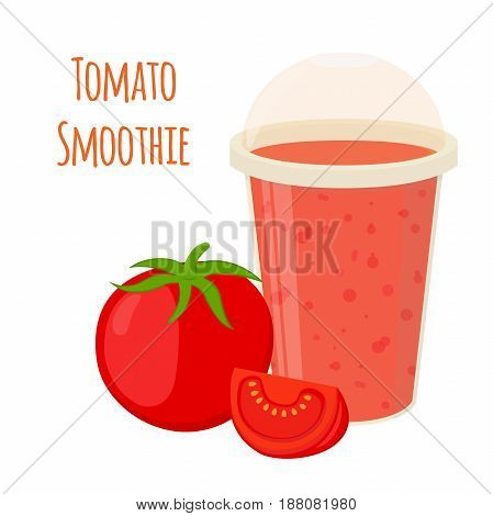 Tomato smoothie, tomato juice in cartoon flat style. Vegetarian nutrition drink
