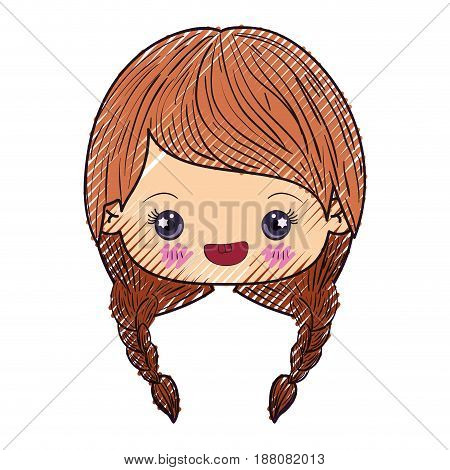colored crayon silhouette of kawaii head of cute little girl with braided hair and smiling vector illustration