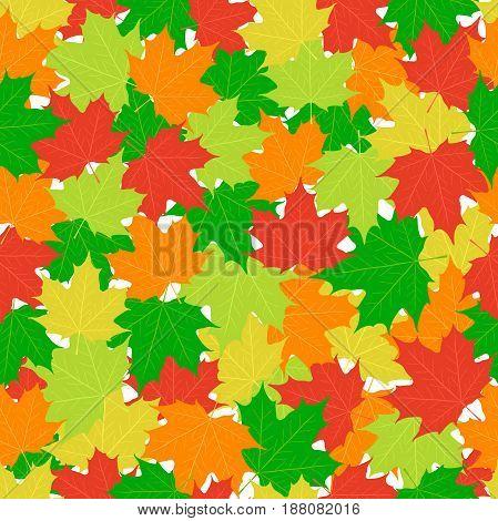 Maple leaves seamless pattern. Green, orange, yellow leaf in cartoon flat style.
