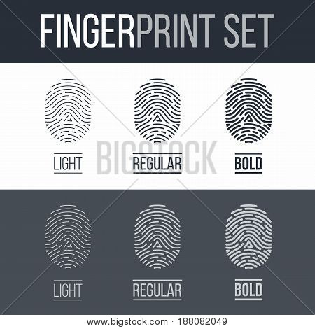 Fingerprints Icons Set for Identity Person on Dark and White Background