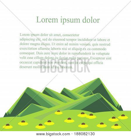 Background with mountain landscape below on white. Green hills, valley with white yellow flowers, Lorem ipsum. Modern flat design stock vector illustration