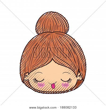 colored crayon silhouette of kawaii head cute little girl with collected hair and funny facial expression vector illustration