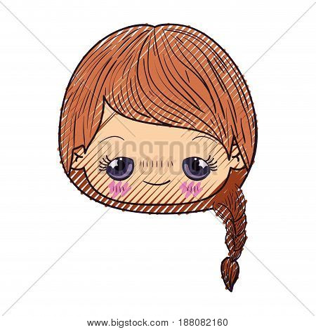 colored crayon silhouette of kawaii head cute little girl with braided hair and embarrassed facial expression vector illustration