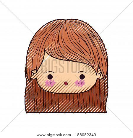 colored crayon silhouette of kawaii head cute little girl with straight hair and surprised facial expression vector illustration
