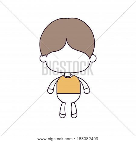 silhouette color sections and light brown hair of faceless little boy with short hair vector illustration