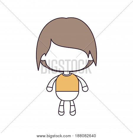 silhouette color sections and light brown hair of faceless little boy with short wavy hair vector illustration