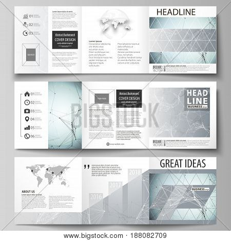 Set of business templates for tri fold square design brochures. Leaflet cover, abstract flat layout, easy editable vector. Chemistry pattern, connecting lines and dots, molecule structure, scientific medical DNA research.