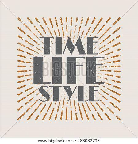 Vintage sunburst abstract retro label Time life style. Vector illustration