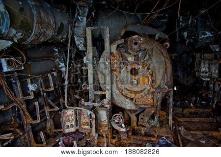 Inside destroyed rotten abandoned rusty Russian warship