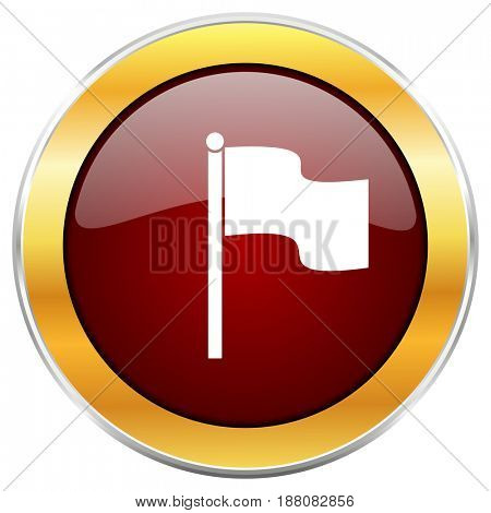Flag red web icon with golden border isolated on white background. Round glossy button.