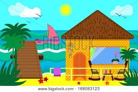 Bungalow. Beach house. Vector illustration. Tropical design.