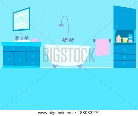 Interior of a blue bathroom with furniture. Flat design. Vector illustration
