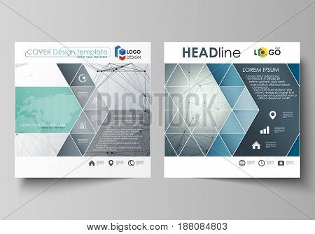 Business templates for square design brochure, magazine, flyer, booklet or annual report. Leaflet cover, abstract flat layout, easy editable vector. Genetic and chemical compounds. Atom, DNA and neurons. Medicine, chemistry, science or technology concept.