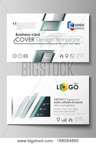Business card templates. Easy editable layout, abstract vector design template. Genetic and chemical compounds. Atom, DNA and neurons. Medicine, chemistry, science or technology concept. Geometric background.