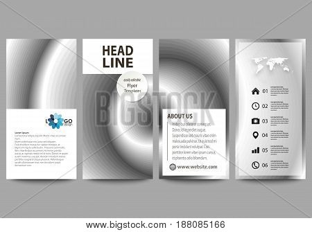 Flyers set, modern banners. Business templates. Cover design template, easy editable abstract vector layouts. Simple monochrome geometric pattern. Minimalistic background. Gray color shapes