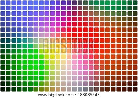 Green blue orange red vector abstract mosaic background with rounded corners square tiles over white