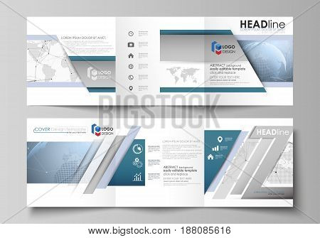 The minimalistic vector illustration of the editable layout. Two modern creative covers design templates for square brochure or flyer. World globe on blue. Global network connections, lines and dots