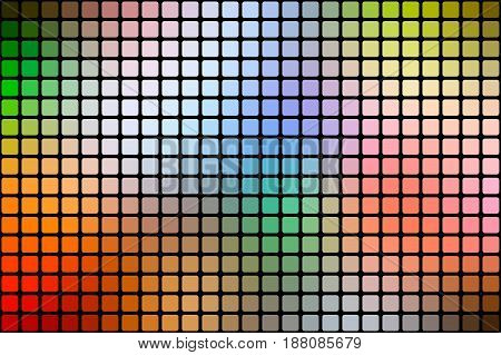 Rainbow colors vector abstract mosaic background with rounded corners square tiles over black