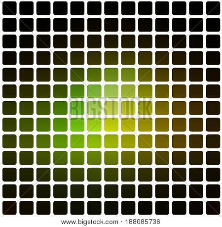 Green brown yellow black vector abstract rounded corners tiles mosaic over white background square