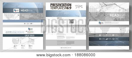 The minimalistic abstract vector illustration of the editable layout of high definition presentation slides design business templates. World globe on blue. Global network connections, lines and dots