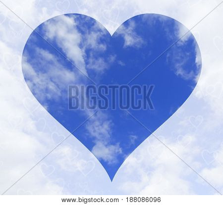 Sky with a heart shape at the center. Sky and hearts. Love concept. Clouds